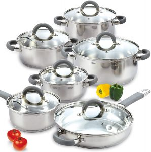 Cook N Home's 12-piece Stainless Steel Cookware Set