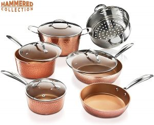 Gotham Steel Hammered Copper Cookware Set