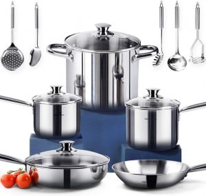 Homi Chef's 14-piece Stainless Steel Cookware Set