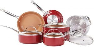 BulbHead Red Copper-Infused Ceramic Non-Stick Cookware Set