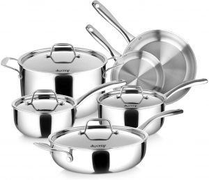 Duxtop Whole-Clad Tri-Ply Stainless Steel Induction Cookware Set