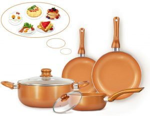 FRUITEAM 6-piece Nonstick Kitchen Cookware Set