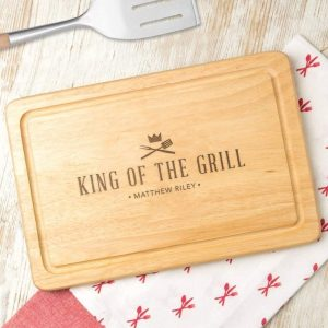 Personalized 'King of the Grill' Wooden Bbq Cutting Board