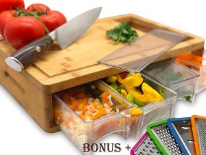 Simpli Better's Bamboo Cutting Board With Trays