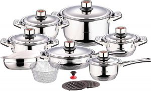 Swiss Inox's 18-Piece Stainless Steel Cookware Set