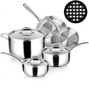 Whole-Clad Tri-Ply Stainless Steel Induction Cookware Set